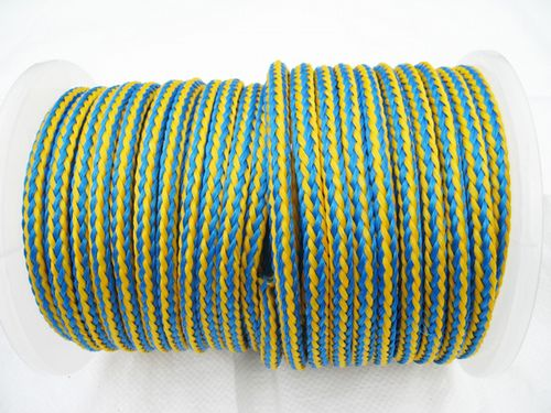 12MM x 50 Metre Blue/Yellow 16 Plait Single Braided PolyPropylene Rope - PP Hollow